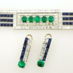 Art Deco Diamond, Sapphire & Emerald Bracelet And Earrings. Sold For A Combined Price Of $30,312.