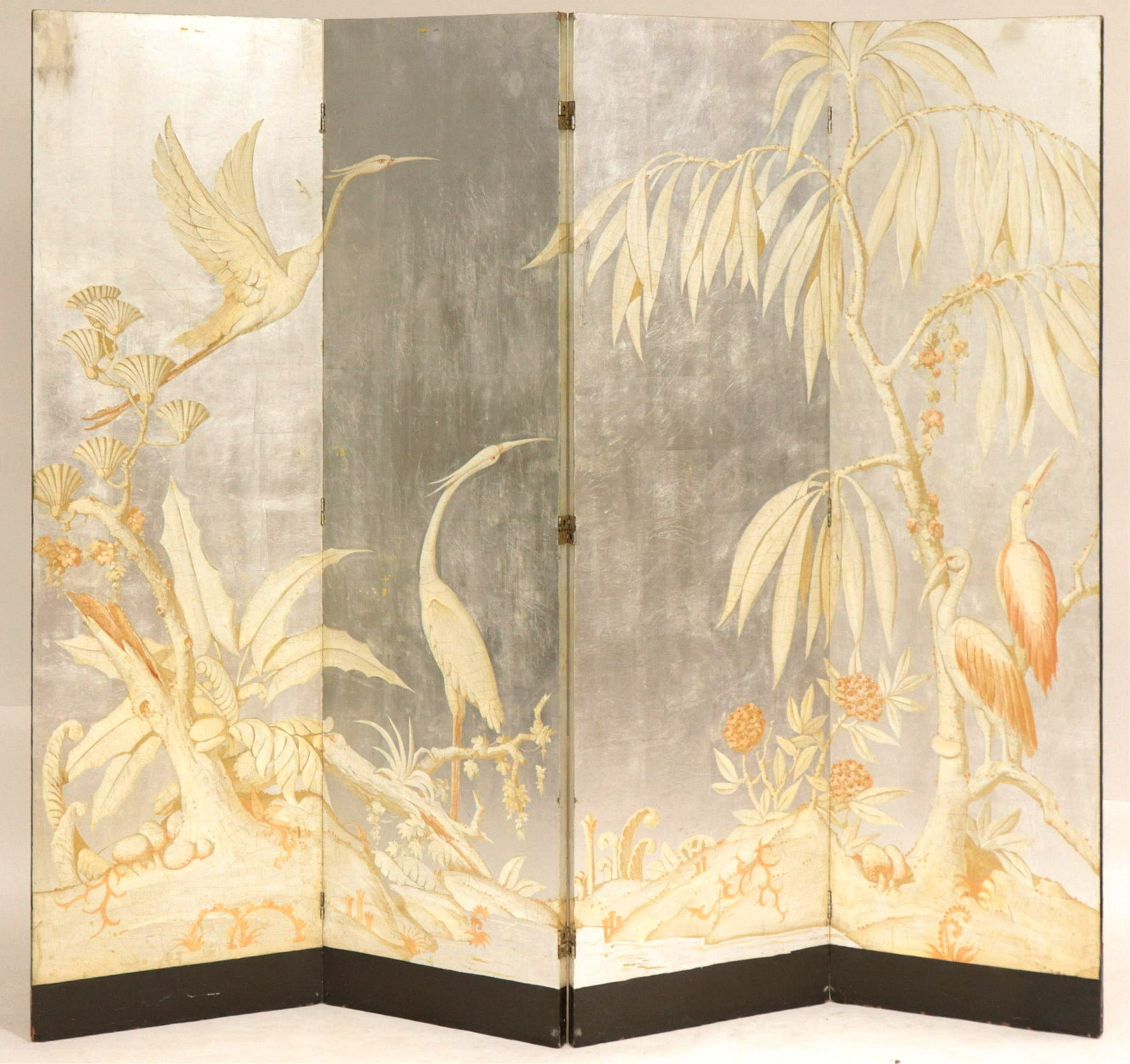 Art Deco Painted & Silver 4 Panel Screen, C.1935. Sold For $4,030