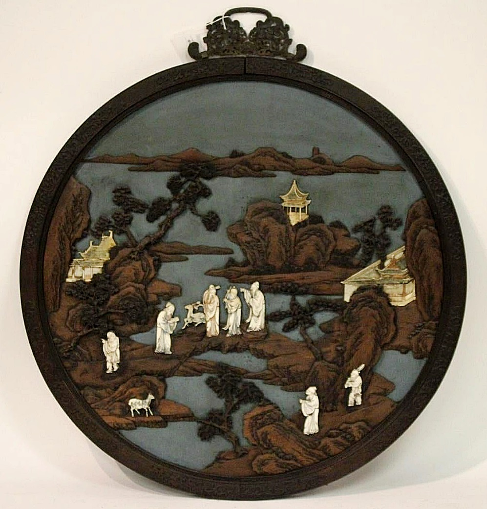 Asian Carved & Painted Wood, Composition Plaque. Sold For $78,000