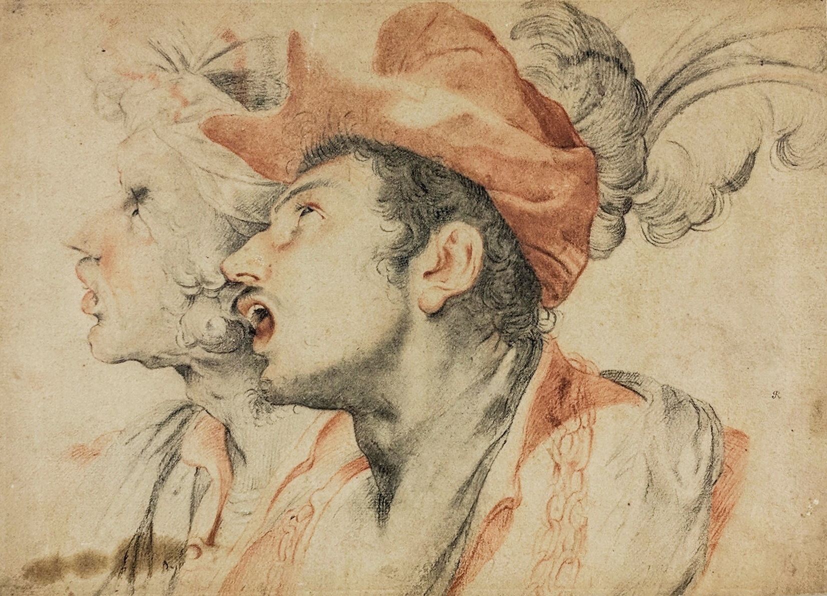 Attr Guillio Cesare Procaccini (1574-1625) Two Men Chalk Sketch. Sold For $16,250 At Partner Capsule Gallery Auction