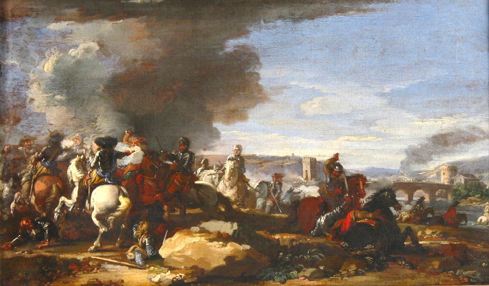 Attr. Jacques Courtois, French, 1621-1676, Battle Scene – Christians & Turks, Oil On Canvas. Sold For $13,800.