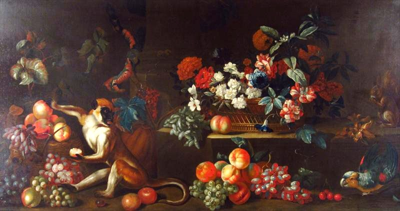 Attr. Jakob Bogdani, Hungarian, 1660-1724, Still Life Of Fruits, Flowers & Animals. Sold For $15,600.