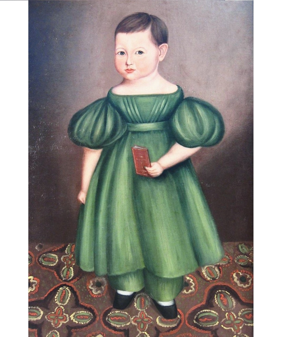 Attr. Joseph Whiting Stock, American, 1815-1855, Child In Green Dress, Oil On Canvas. Sold For $12,000.