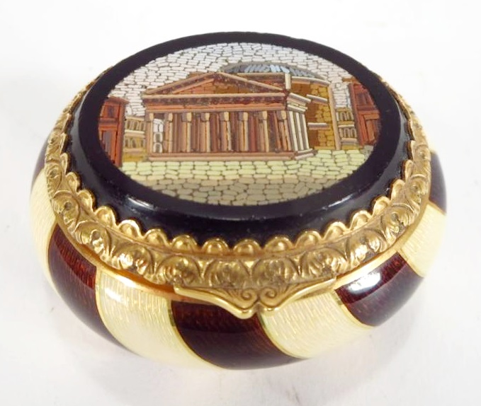Austrian 18K Gold Guilloche Micromosaic Box. Sold For $2,375