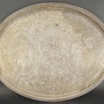 Ball, Black & Co. Coin Silver Presentation 2-Handled Large Oval Tea Tray, New York, 1851-1876. To David Watts, 1862. Sold For $21,600.