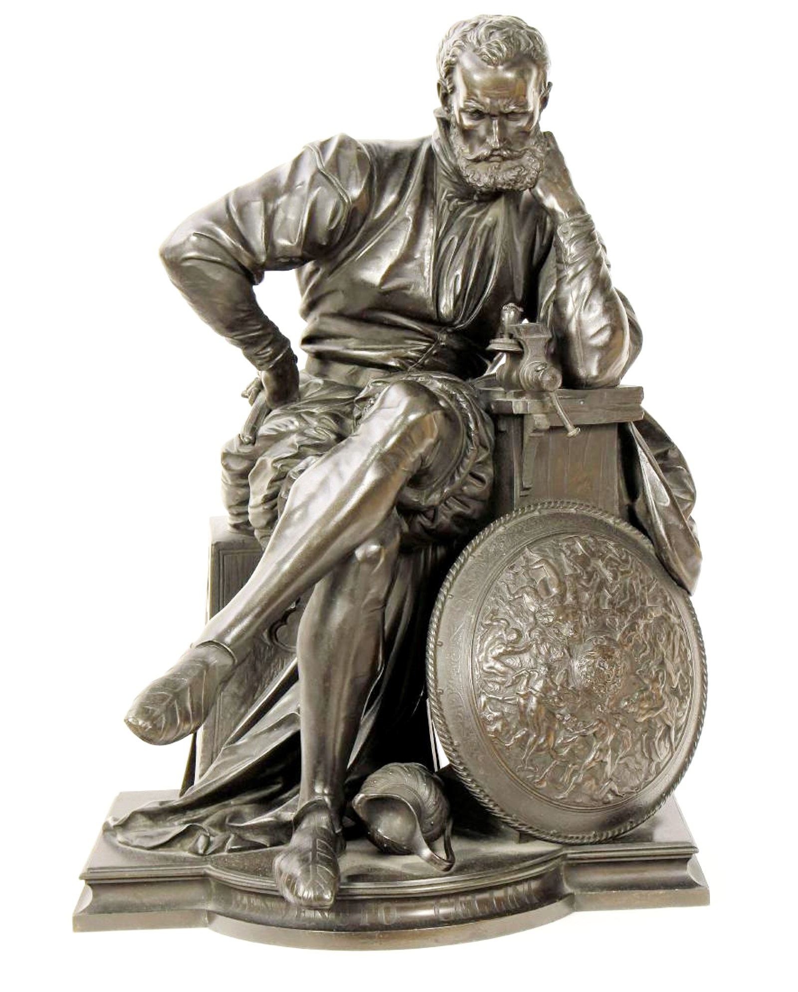 Benvenuto Cellini In His Workshop, 19th C. Bronze. Sold For $4,750