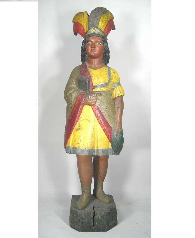Carved & Polychromed Cigar Store Indian Figure, 19th C. Sold For $12,600.