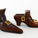 Carved Wood Shoe Form Snuff Boxes, English-American, C. 1790's, Jean Pierre Blanchard Sold For $1,750.