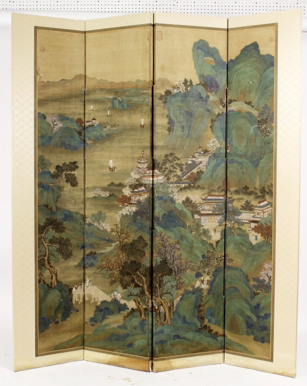 Chinese 4-Panel Screen, Paint On Silk, River Scene, Sold For $3,875