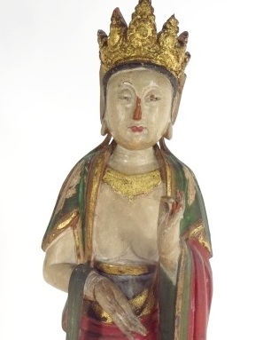 Chinese Carved Wood Bodhisattva Figure. Sold For $16,250