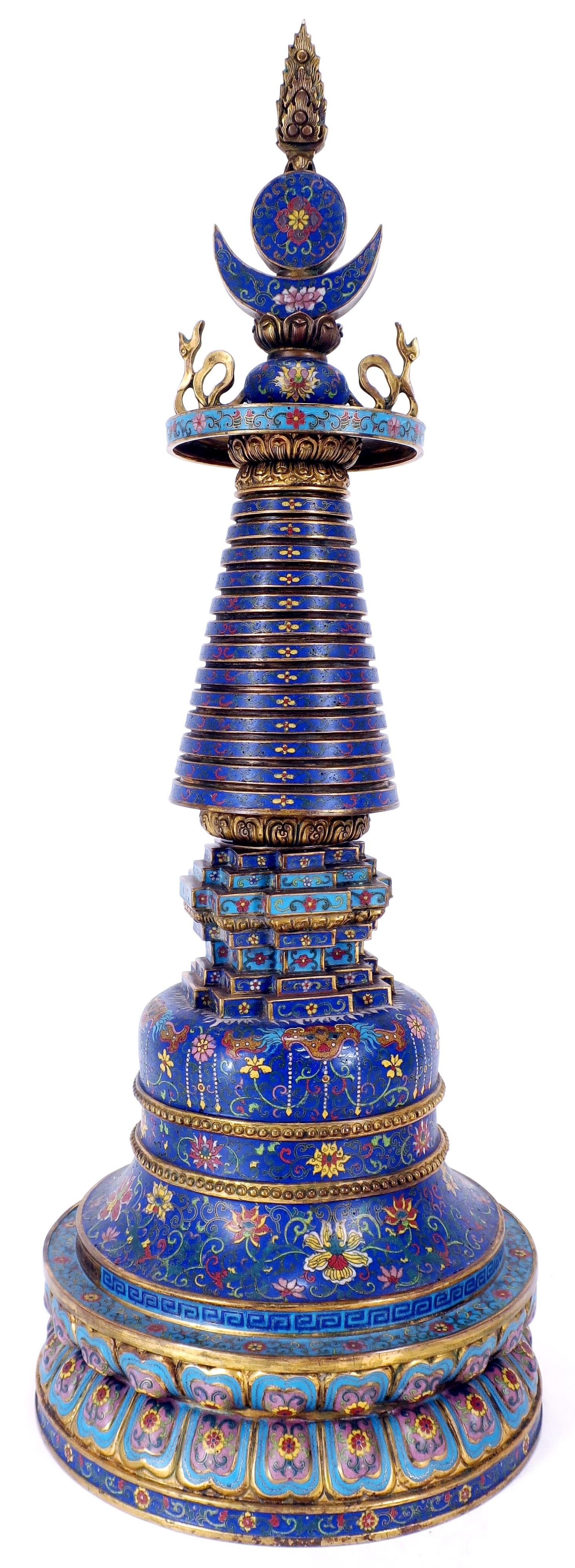 Chinese Cloissone & Gilt Bronze Model Of A Stupa. Sold For $5,125