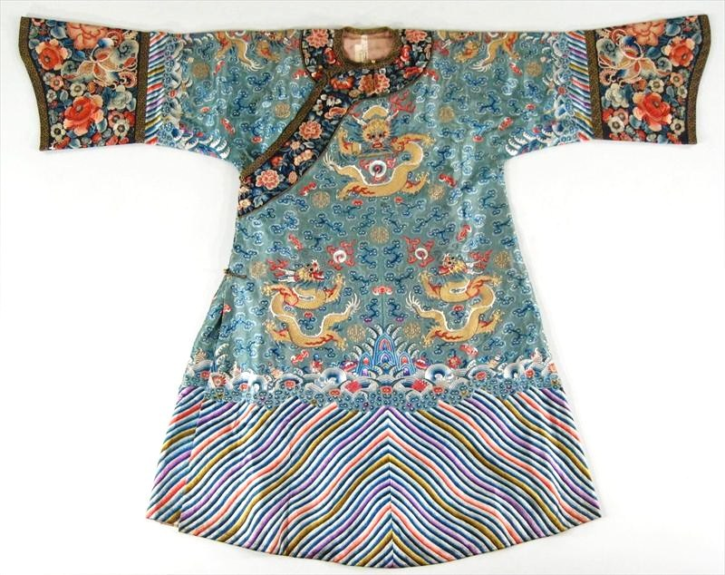 Chinese Pale Green Semi-Formal Ladies Kesi Embroidered Silk Robe, 19th-20th C. Sold For $20,400.