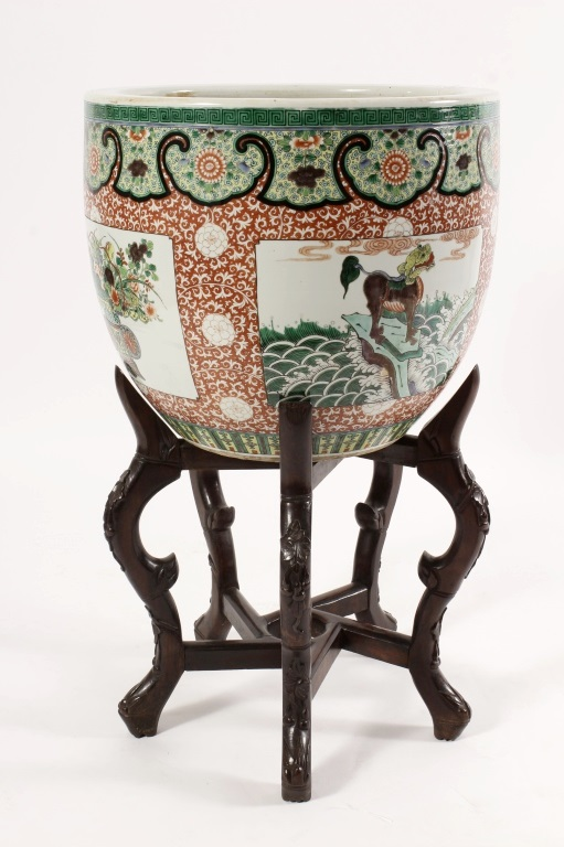 Chinese Porcelain Jardiniere, Famille Verte Colors. Sold For $4,875