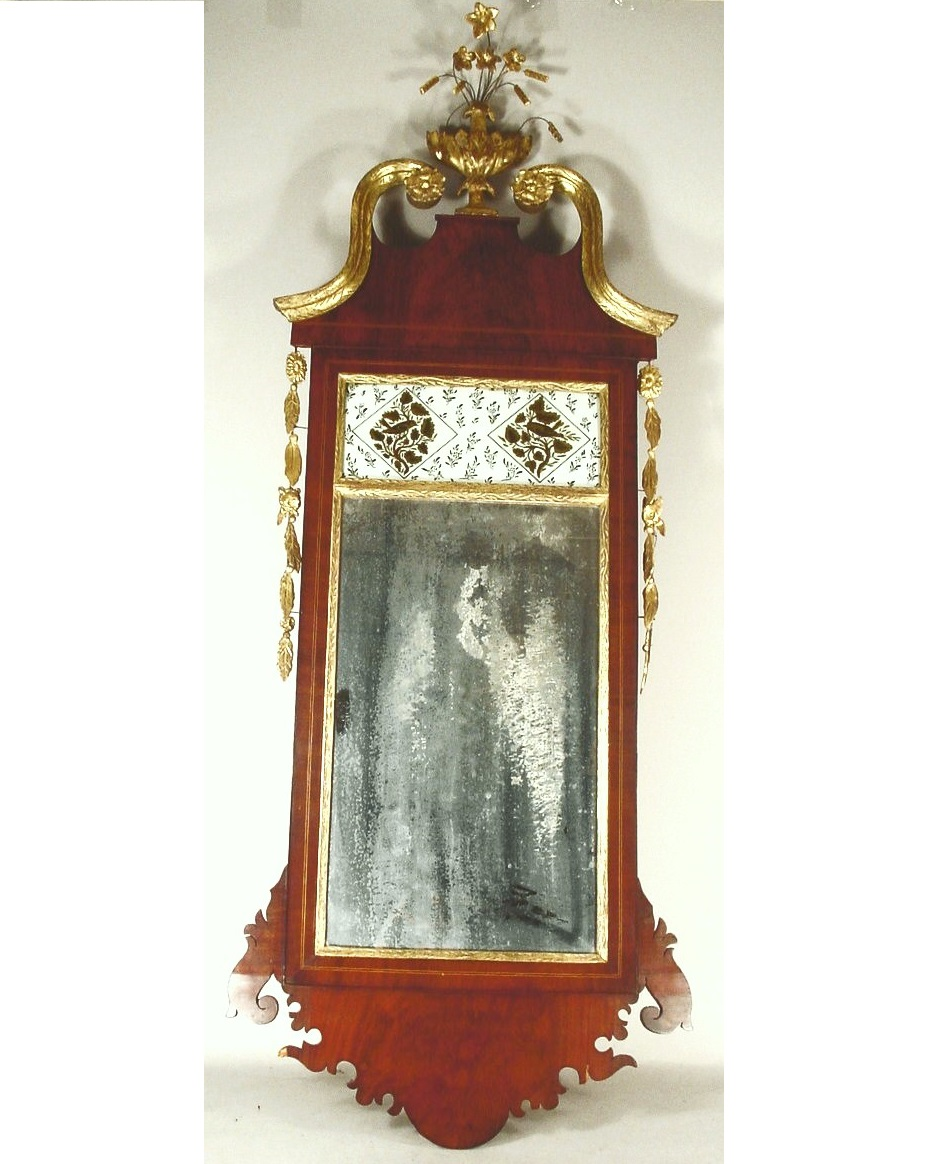 Chippendale-Hepplewhite Fret Carved Mahogany Mirror, C. 1800. Sold For $13,126.