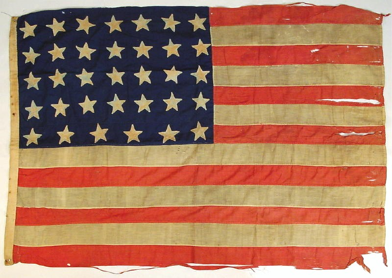Civil War Hand Sewn 34 Star Appliqued Linen American Flag, 19th C. Sold For $3,250.