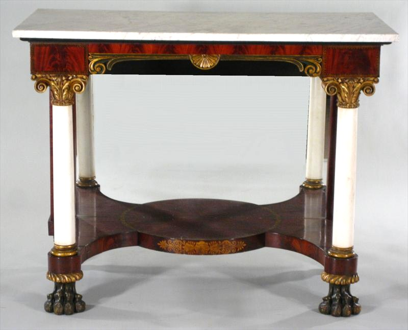 Classical Carved, Gilded And Ebonized Mahogany Marble-Top Pier Table, Attr. Anthony Quervelle, Philadelphia, PA, Circa 1820. Sold For $7,625.