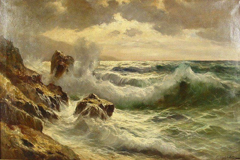 Constantin Westchiloff, New York, 1880-1945, 'Breakers On Rocky Shore', Oil On Canvas. Sold For $25,200.