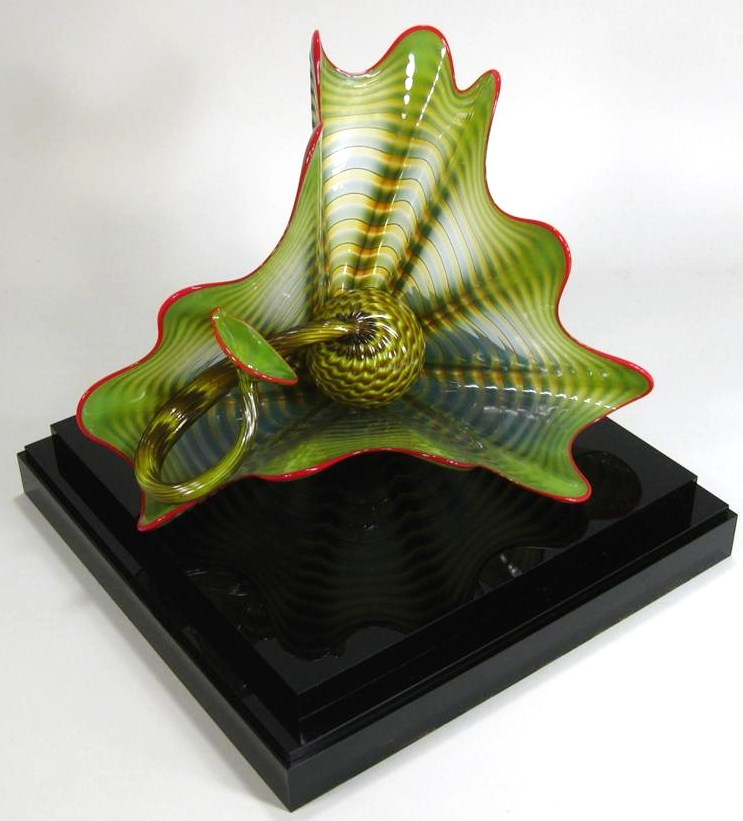 Dale Chihuly, American, B. 1941, Two Part 'Seaform' In Parrot Green Persian. Sold For $5,375.