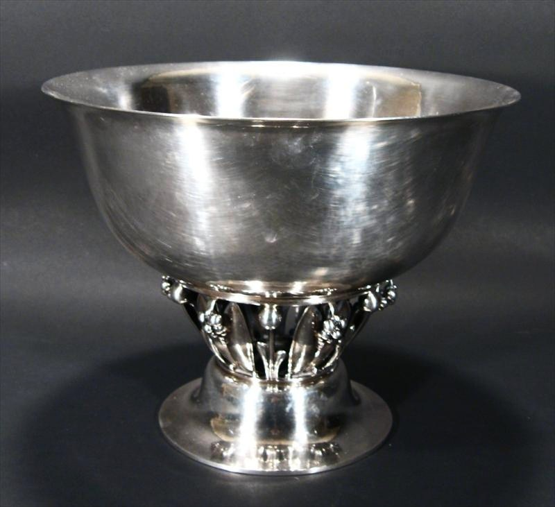 Danish Georg Jensen Sterling Silver 'Grape' Pattern Pedestal Bowl. Sold For $9,000.