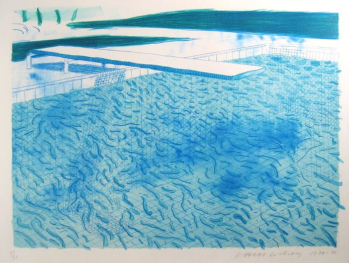 David Hockney, B.1937, 'Water Made Of Lines & Blue Wash', Colored Lithograph. Sold For $35,400.