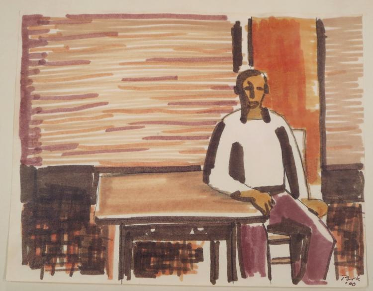 David Park, Seated Figure, 1960, Pen. Sold For $5,781.