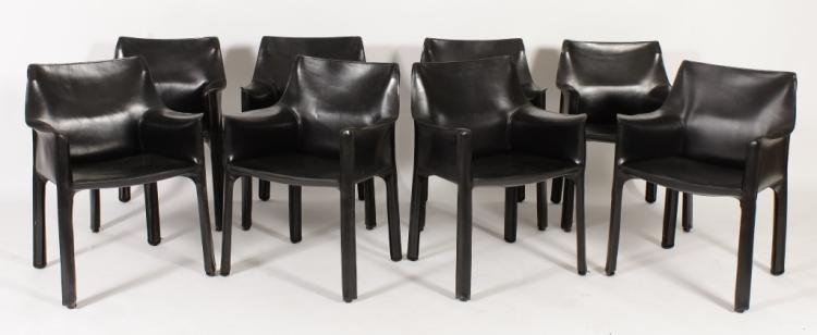 Eight Mario Bellini Cab Black Leather Armchairs, Sold For $5,625