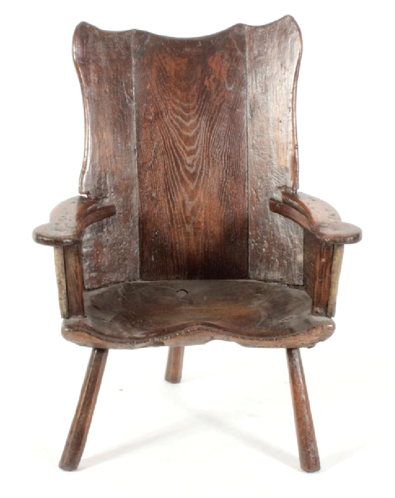 English Oak 3-Legged Primitive Armchair, C. 1600. Sold For $4,125