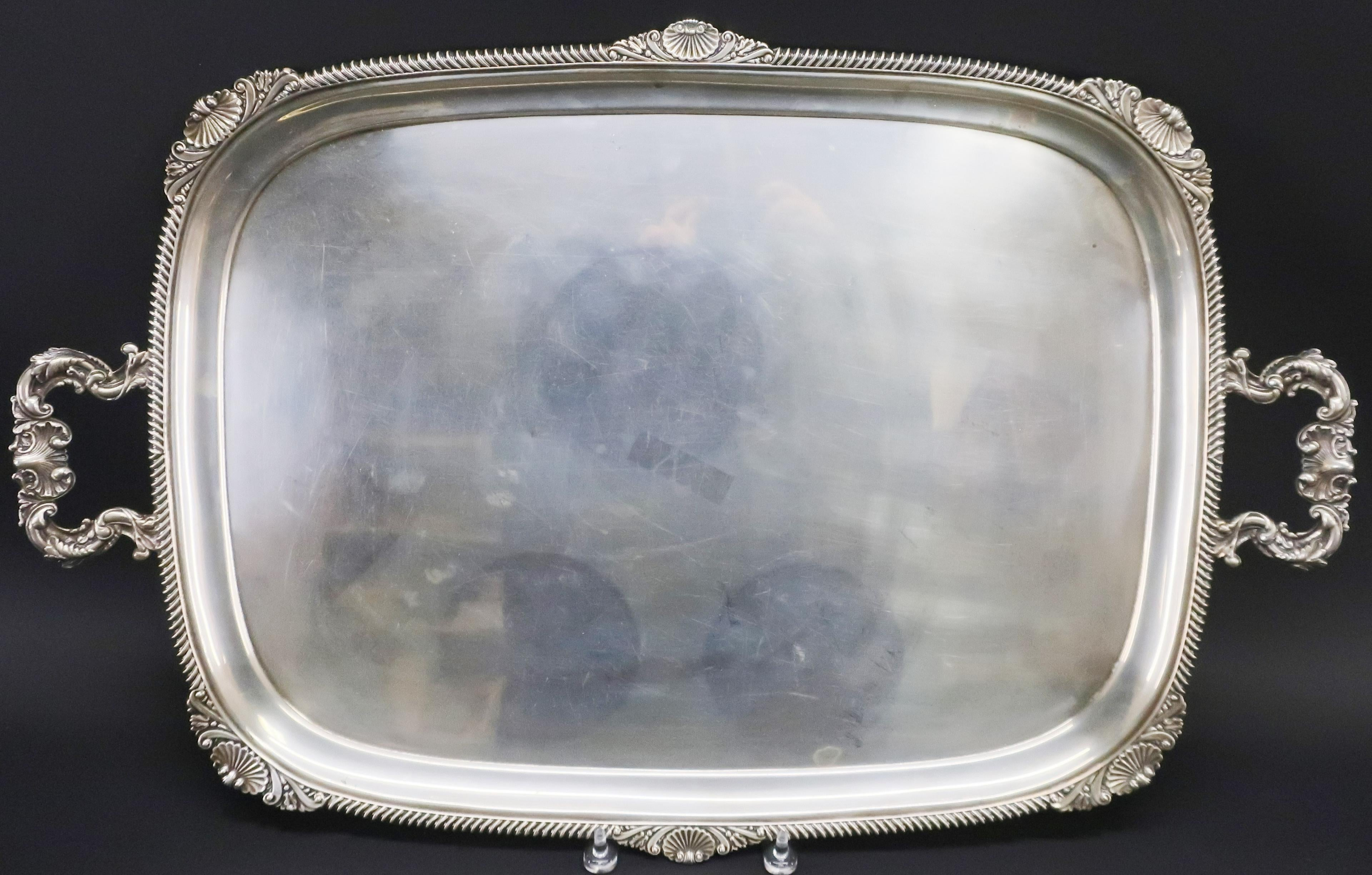 English Silver 2-Handled Tea Tray, C 1924. Sold $2,990