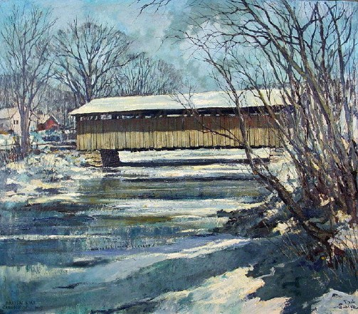 Eric Sloane, American, 1905-1985, 'Covered Bridge In Winter', Oil On Masonite. Sold For $14,400.