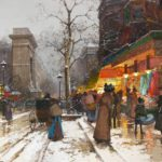 Eugene Galien-Laloue, French, 1854-1941, Snowy Parisian Boulevard At Dusk. Sold For $31,200.