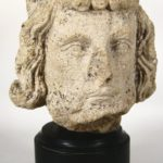 European School, 17th C., 'King's Head', Carved Limestone. Sold For $25,200.