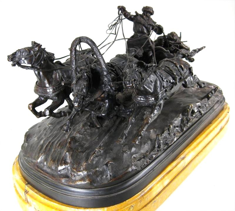 Evgeni Alexandrovich Lanceray, Russian, 1848-1886, Troika And Driver, Bronze Group. Sold For $15,660.