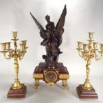 F. Barbedienne Bronze, Ormolu And Marble Garniture Set, French, 19th C., With La Sirene, After Reny Puech. Sold For $5,500.