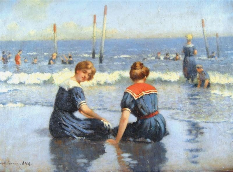 Frank Russell Green, NY, 1856-1940, 'At The Shore ', Oil On Canvas. Sold For $21,600.