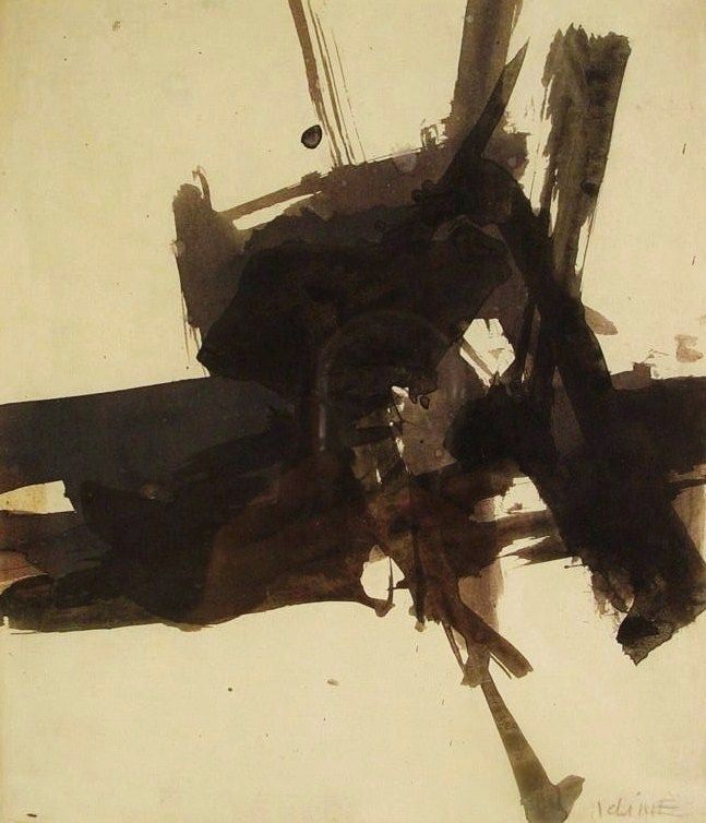 Franz Kline, American, 1910-1962, Untitled, C. 1956, Ink On Paper. Sold For $55,200.