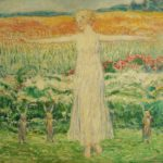 Frederick Childe Hassam, N.A., 1859-1935, Child In Landscape With Rabbits, Oil On Panel. Sold For $55,200.