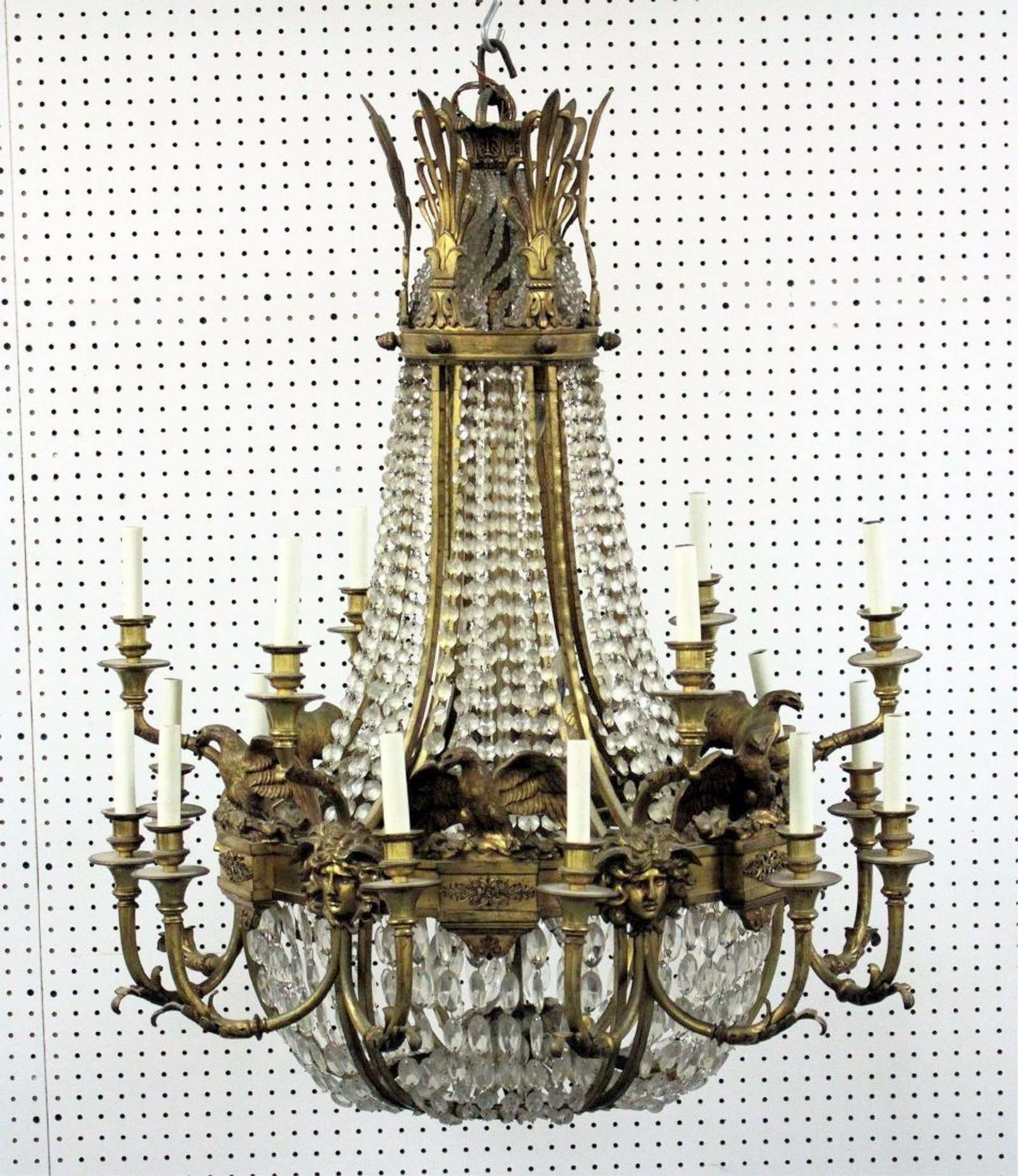 French Empire-Style Bronze Waterfall Chandelier. Sold For $6,875