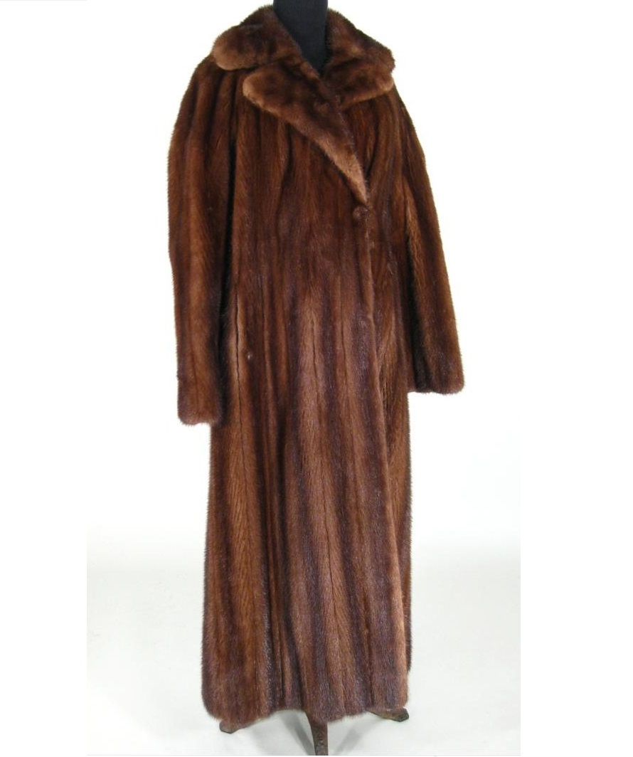Full Length Brown Mink Fur Coat. Sold For $1,750.