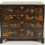 George I Black Lacquered Chinoiserie Decorated Chest Of Drawers-Secretary. First Quarter Of The 18th C. Sold For $7,250