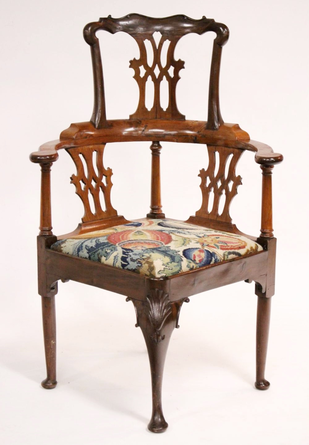 George II Yew Wood Corner Chair, Mid-18th C. Sold For $5,850