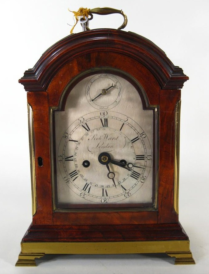 George III Brass Mounted Mahogany Bracket Clock, Robert Ward London, 18th C. Sold For $7,250.