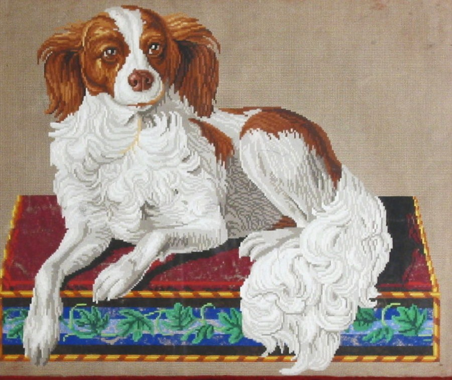 German Berlinwork Hand Painted Pattern For Needlework, 19th C., Spaniel On Victorian Pillow. Sold For $1,500.