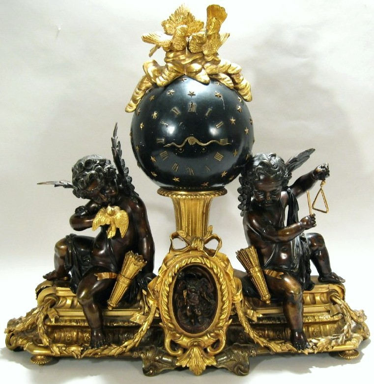 Gilt Bronze Striking Globe Face Mantel Clock, 19th-20th C. Sold For $5,875.