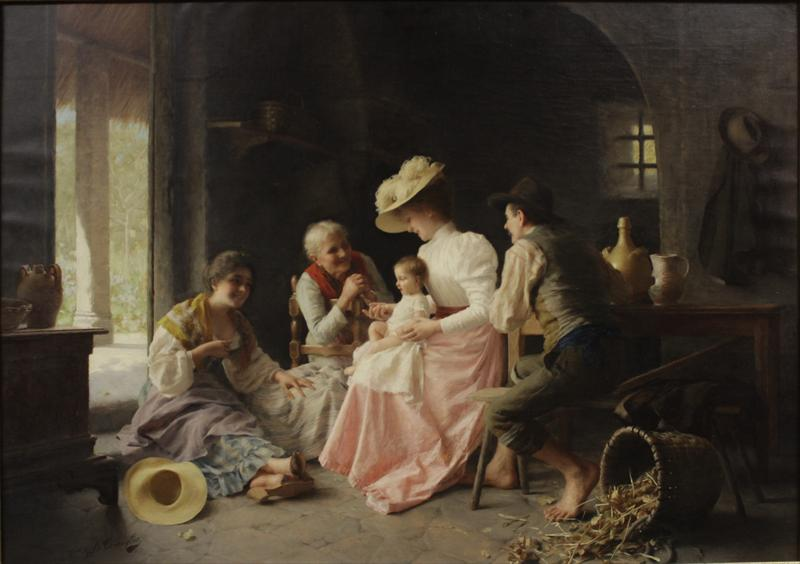 Giovanni Battista Torriglia, It., 1857-1937, Playing With The Baby. Sold For $37,500.