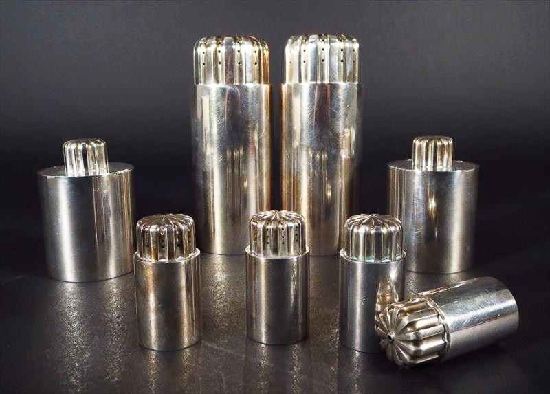 Group Of 8 Georg Jensen Salt And Peppers, Danish, 20th C. Sold For $3,187.