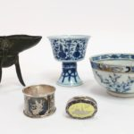 Group With Chinese Jue, Bowl, Goblet & Siamese Silver. Sold For $9,062