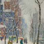 Guy Carleton Wiggins, American, 1883-1962, NYC Winter Street Scene, Oil On Canvasboard. Sold For $18,000.