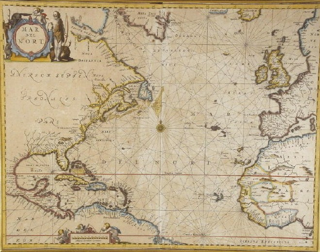 Hand Colored Engraved Map, 17th C., By Johannes Janssonius, C. 1657, 'Mar Del Nort'. Sold For $1,160.