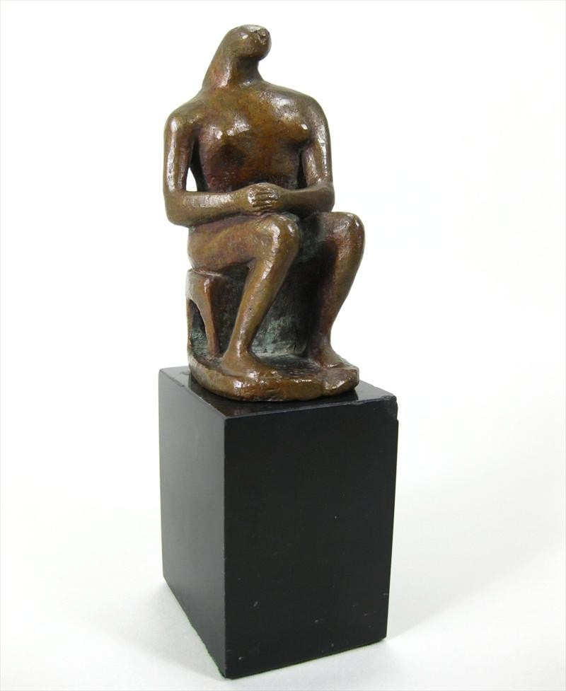 Henry Moore, British, 1898-1986, Seated Figure, Maquette, Bronze. Sold For $43,200.