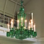 Immense Nesle Emerald Green Glass 18 Light Chandelier. Sold For $12,500